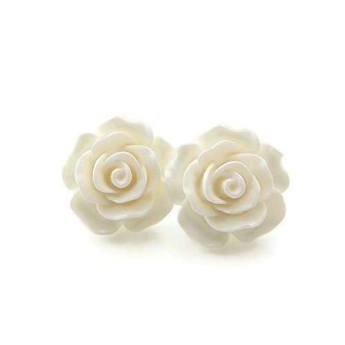 Large Winter White Rose Earrings on Plastic Posts