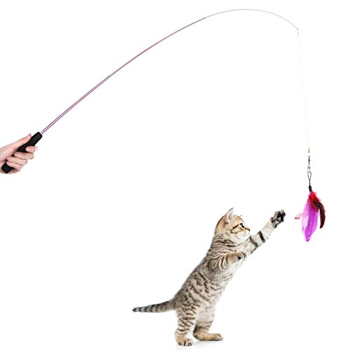 8 pcs assorted feather cat toy etrech retractable wand for Retractable cat wand
