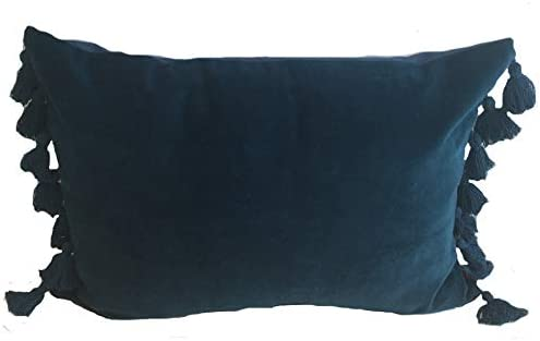 Ragged Rose Coussin en Velours avec Pompons Bleu p/étrole 30 x 50 cm