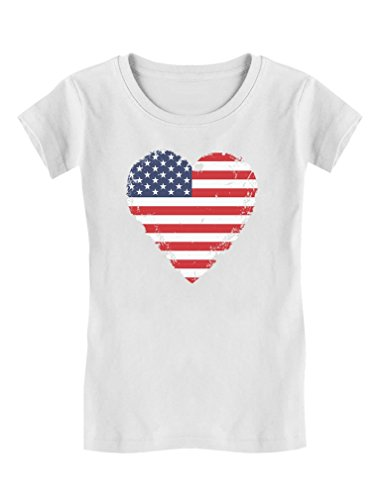(Love USA 4th of July American Heart Flag Toddler/Kids Girls' Fitted T-Shirt 5/6 White)
