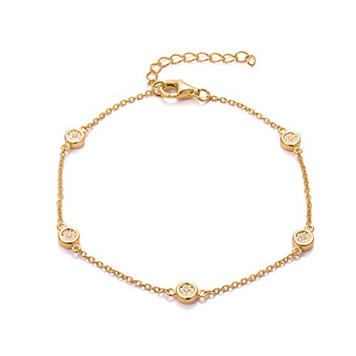 FANCIME Yellow Gold Plated 925 Sterling Silver Round CZ Cubic Zirconia Petite Station Simple Dainty Chain Bracelet for Women Girls, 17+3cm ()