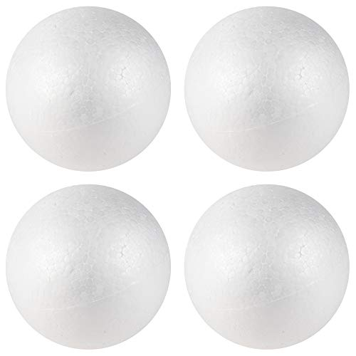 Craft Foam Balls - 4-Pack Smooth Round Polystyrene Foam Balls, Craft Supplies, Perfect for Art, Ornaments DIY, Wedding Decoration, Science Modeling, School Projects, White, 4 Inches Diameter