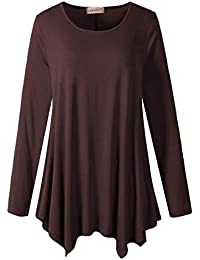 Womens Long Sleeve Flattering Comfy Tunic Loose Fit Flowy Top