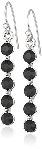 1928 Jewelry Silver-Tone Black Linear Drop (Black Stone Drop Earrings)
