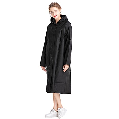 Aircee Adults Lightweight Hooded Rain Cover Raincoat Raincape Poncho - Black Long Raincoat