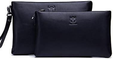 JIWEIER Hermoso Bolsos de Tarde Hombre Cuero Bolso de Mano Color sólido Negro/Black Grey/Otoño Invierno (Color : Black Grey) Black