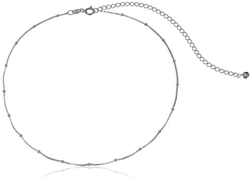 (Sterling Silver 0.8mm Box Chain with 2mm Beads Choker Necklace, 12