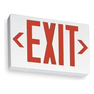 """Lithonia Lighting EXR M6 12.25"""" 1 Light 3.8 Watt White Thermoplastic Red Lighted """"EXIT"""" Exit Sign from the Contractor Select Collection"""