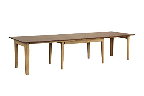 (Sunset Trading DLU-BR134-PW Brook Dining Table Distressed Two Tone Light Creamy Wheat with Warm Pecan Finish top)