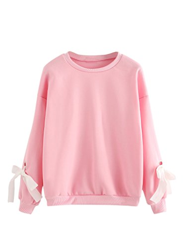 Romwe Women's Casual Eyelet Tie Sleeve Round Neck Sweatshirt Pullovers Top Pink S