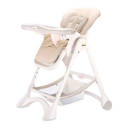 SpringBuds Baby High Chair with Big Detachable 2-in-1 Tray Reclining Height Adjustable Simple Fold 4 Lockable Wheels White