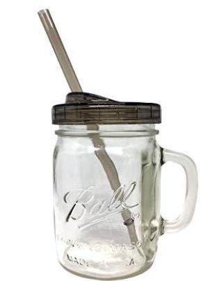2 Ball Glass Mason Drinking Jars with 2 Sip and Straw Lids (2, 24oz Mug)