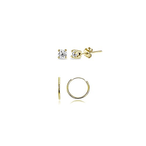 2 Pairs Gold Flash Sterling Silver 10mm Endless Hoops & 2mm Round CZ Stud Unisex Cartilage Earrings - Second Earrings Piercing Studs