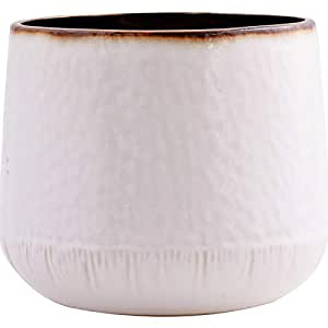 Little Green House Round Ceramic Vase, White