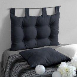 Enjoy Home 2007CHTL070045 - Testiera da letto in tessuto, 70 x 9 x 45 cm, Tessuto, Grigio scuro, 9 X 45 CM 2007GRFTL070045