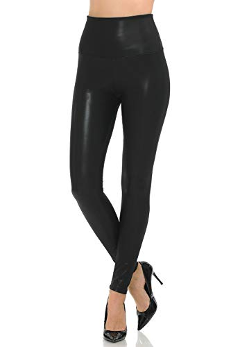 Women Sexy Tight Fit Faux PU Leather High Waist Leggings (Black, M)