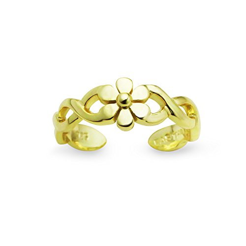 (Yellow Gold Flashed Sterling Silver Inspired Big Petal Flower Band Adjustable Toe)