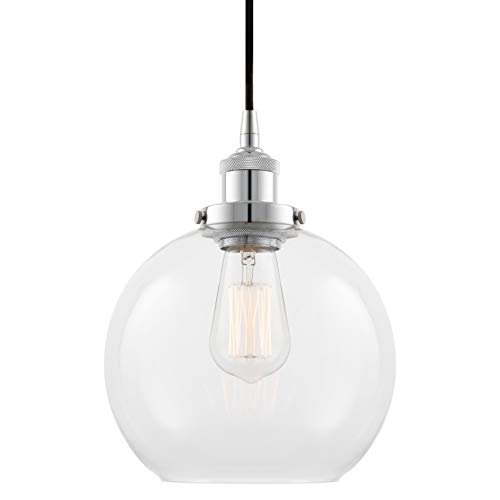 "Kira Home Theia 8"" Modern Industrial Pendant Light + Clear Glass Globe Shade, LED Compatible, Adjustable Height, Chrome Finish"