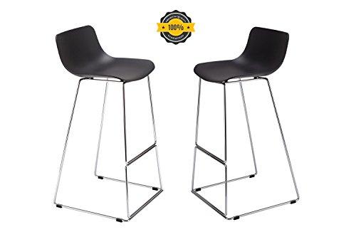 Vinyl Square Bar Stools (OTTITI ENZO Barstools(2-Pieces), High Leg Metal Rebar Indoor-Outdoor Stack Barstool with Square Seat (Black))