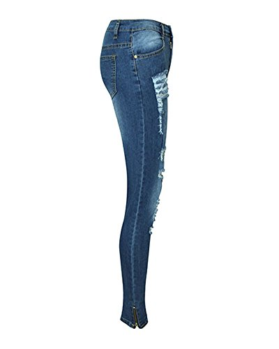 Pants Leggings Femme Dchir Crayon Jeans Bleu Collant Slim Denim Taille Haute Pantalons Casual xYrwfvPYqT
