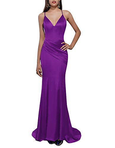 ALAGIRLS Women V Neck Spaghetti Straps Satin Mermaid Long Evening Dress Backless Formal Prom Gowns Purple US26Plus