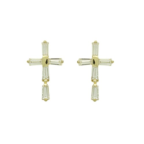 Baguette Yellow Cross (14K Yellow Gold Baguette Cut Cubic Zirconia Cross Screwback Stud)