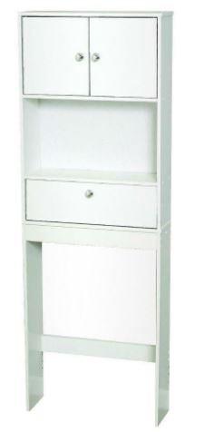 K&A Company White 3 Drawer Space Saver Bathroom Storage Shelf Toilet Over Organizer Towel Cabinet Shelves