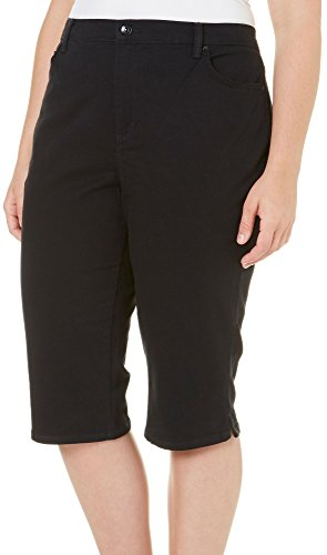 Gloria Vanderbilt Women's Plus Size Amanda Skimmer Shorts, Black, 20W (Black Womens Skimmer)