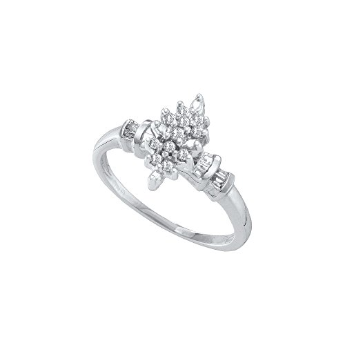Marquis Shape (10kt White Gold Womens Round Prong-set Diamond Marquis-shape Cluster Ring 1/6 Cttw (I2-I3 clarity; J-K color))