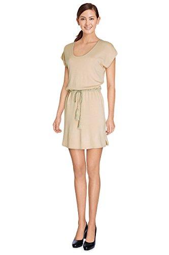 Robe pull Mujer Malla mi-longue Mallory–Manga corta–xl16090–disponible en 4colores: marino Beige Ecru rosa Beige
