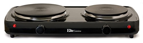 Elite Cuisine EDB-302BF Maxi-Matic Electric Double Buffet Burner with Dual Temperature Control, Black