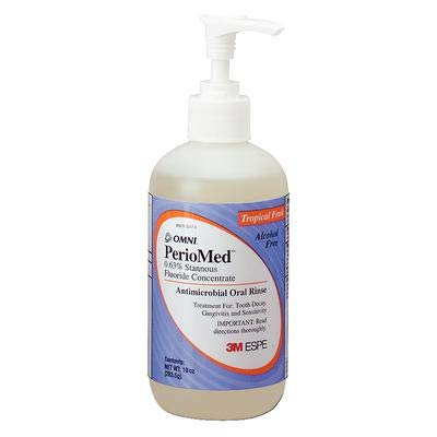 (3M ESPE 12105F PerioMed 0.63% Stannous Fluoride Oral Rinse Concentrate Refill, Tropical Fruit Flavor, 10 oz. Bottle with Pump)