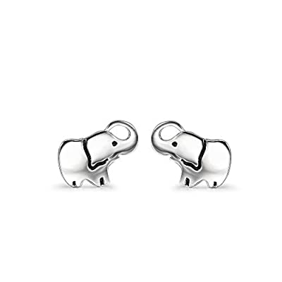 YFN Ladies Lovely Cute Jewelry Gift Silver Good Lucky Elephant Stud Earrings Charms(elephant)