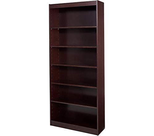 (Lоrеll 6-Shelf 36 x 12 x 84-Inch Panel End Hardwood Veneer Bookcase, Mahogany)