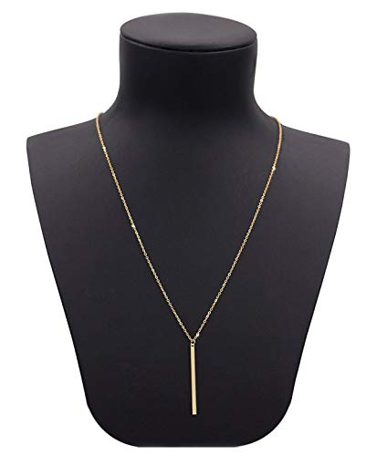 (Geerier Gold Chain Y Type Simple Bar Necklace Pendant Long Lariat Necklace)