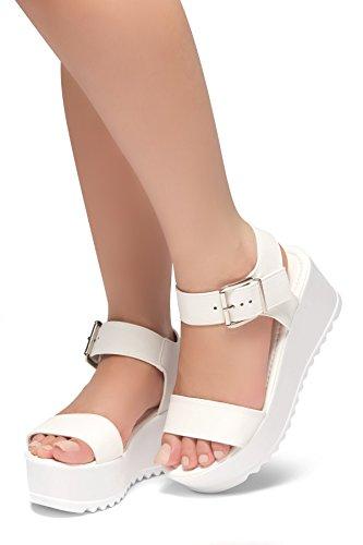 Platform Open Wedge Sandal - Herstyle Womens's Carita-Open Toe Ankle Strap Platform Wedge. White 8.5