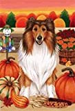 Collie by Tomoyo Pitcher, Autumn Themed Dog Breed Flags 28 x 40 For Sale