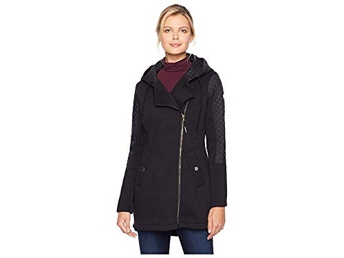 Michael Michael Kors Women's Zip Front/Zip Back Hooded Knit Coat A320673GZ Black Medium ()