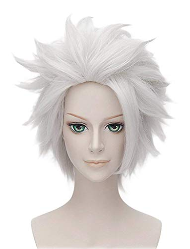 Hair Cap + Silver White Men's Short Straight Costume Party Anime Cosplay Wig Synthetic Party Hair For Boy -