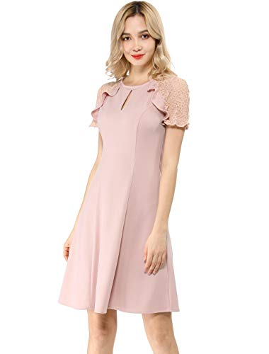 Allegra K Women's Ruffle Keyhole Lace Sleeve Fit and Flare Dress M Pink