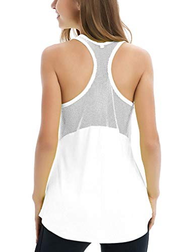 (Fihapyli Women's Sleeveless Yoga Shirts Workout Tank Tops Actives Breathable Mesh Backless Tank Yoga Tops Workout Shirts Running Workout Clothes for Womens Racer Sport Tanks Activewear White M)