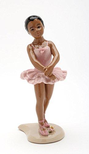 Cosmos Gifts Fine Porcelain African American Ballerina Ballet Dancer Girl in Pink Tutu Dress Figurine, 6-1/8