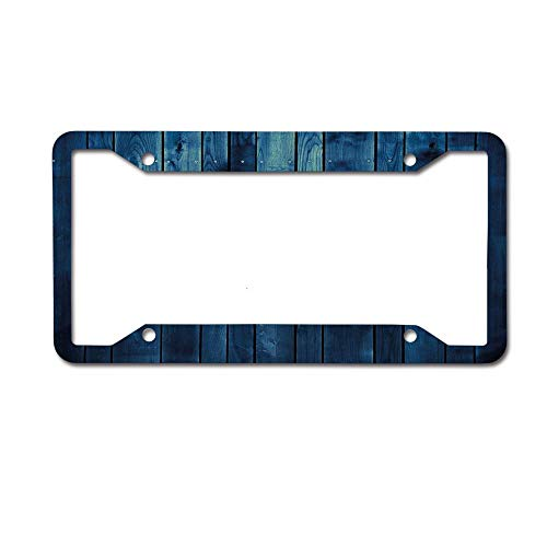 Jackie Prout ss Dark Blue Wooden Planks Texture Image Boards Floor Wall Lumber Rustic Light Blue Dark Blue License Plate Frame Aluminum Car Tag for US Canada Vehicles 4 Holes and Screws