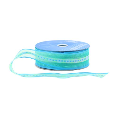 (Berwick Wired Edge Chamblee Sheer Craft Ribbon, 1-1/2-Inch Wide by 50-Yard Spool, Turquoise)