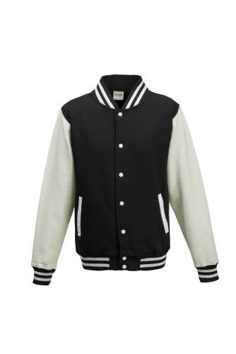 Awdis Unisex Varsity Jacket (S) (Jet Black/White) ()