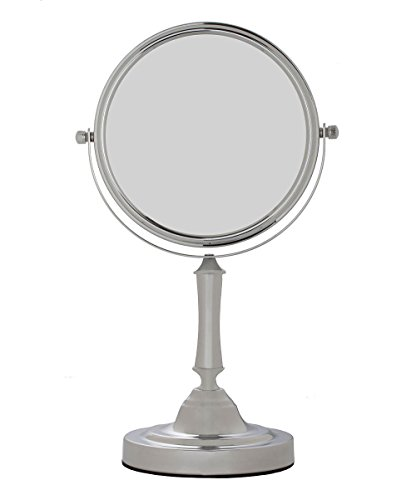 Sagler Vanity Mirror Chrome 6-inch Tabletop Two-Sided Swivel with 10x Magnification, makeup mirror 11-inch Height, Chrome Finish (Chrome Swivel Mirror)