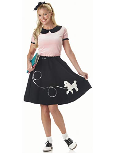 50s Satin Adult Poodle Dress Costumes - 50s Hop with Poodle Skirt Costume