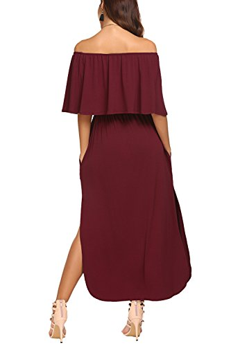 10a7f64653d7 BLUETIME Women Off The Shoulder Short Sleeve Side Split Maxi Dress with  Pockets