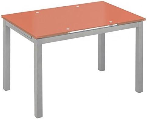 Mesa extensible de cristal translúcido color naranja y estructura ...