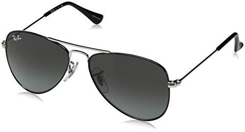 Ray-Ban Junior RJ9506S Aviator Kids Sunglasses, Black on Silver/Grey Gradient, 50 ()
